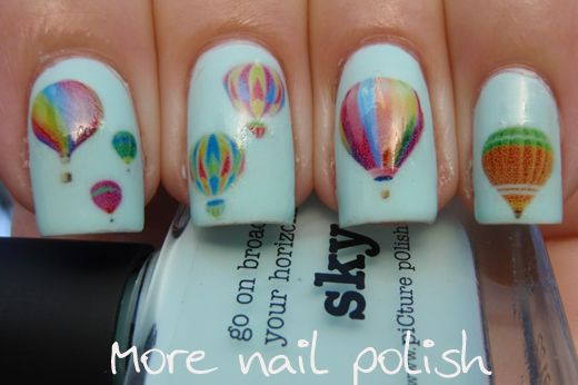 More Nail Polish: Hot air balloon nails for an adventure. Go New Mexico!!!