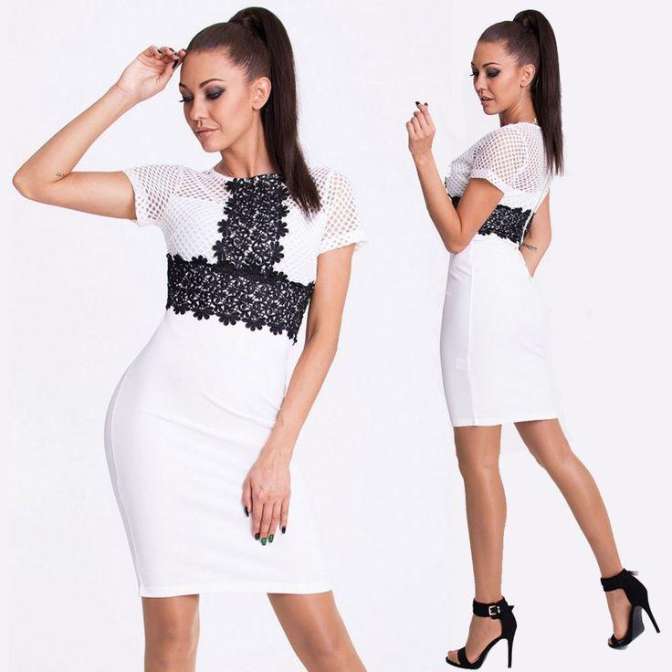 Fehér fekete csipkés alkalmi ruha