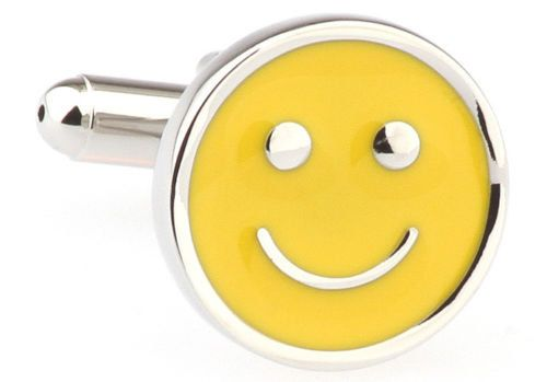 Dont Worry Be Happy Yellow Smiley Face by PerfectCufflinks on Etsy
