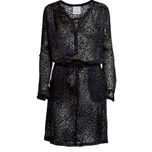 """SUST SILK Luxury Dress, long sleeves, leopard print. Beautiful and exclusive dress with long sleeves and a shiny surface. The dress is transparent. Made from 100% silk in """"dead stock"""", which means that it's made from residues from other collections."""