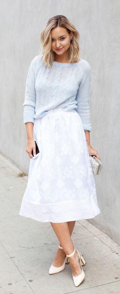#street #style / Baby blue + white maxi skirt