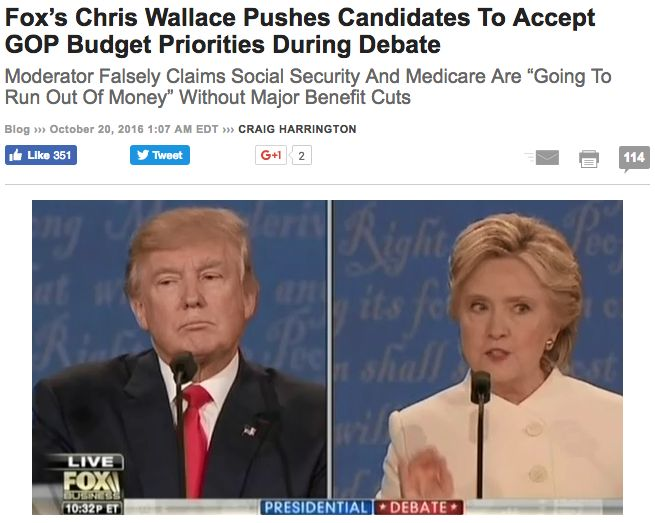"""""""Fox News host and 2016 presidential debate moderator Chris Wallace used the last question of the presidential debate to push both the Democratic and Republican nominees into accepting a past GOP proposal – harmful cuts to vital entitlement programs as part of a national debt-reducing 'grand bargain.'"""" via Media Matters. (click through to read more) #SocialSecurity"""