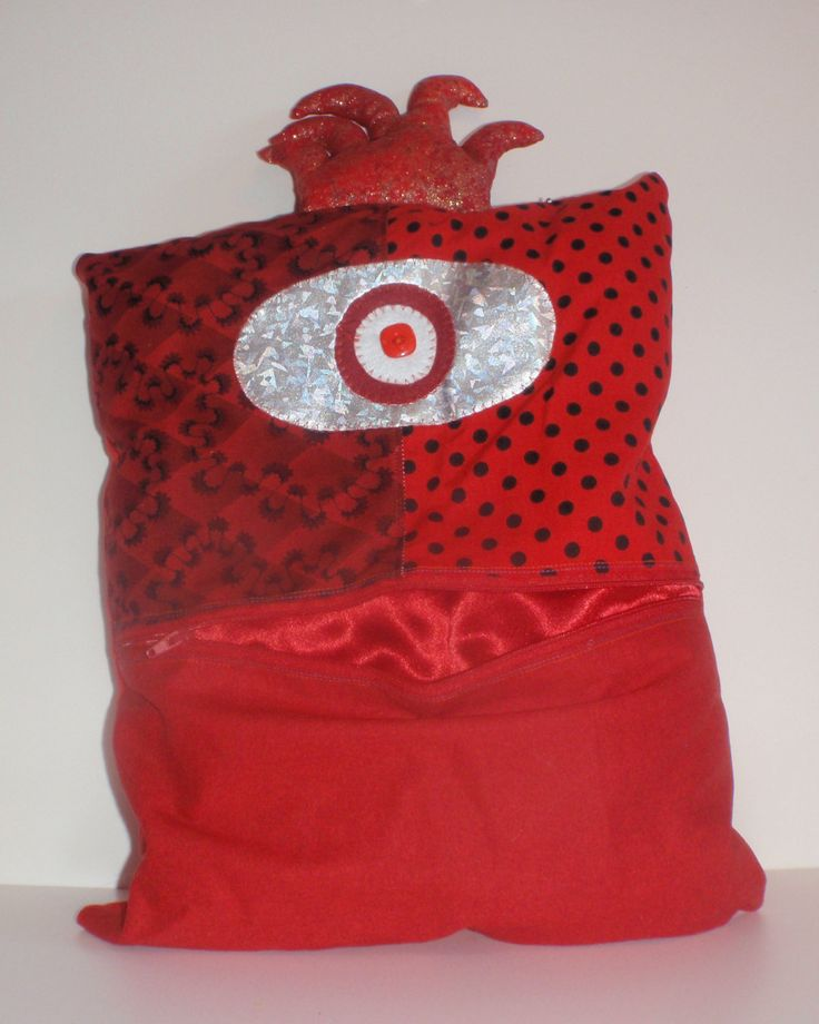 Amazing Red Monster Pet Pillow, I'm a Toy, a Monster, a Pet, a Pillow and a Bag in one by ColourMeldDesigns on Etsy