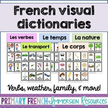 French visual dictionaries - Les dictionnaires visuels - Places, weather, and more! Includes:  Verbs x 3 Places  Nature Weather Body parts Emotions Family Transportation Adjectives (opposites) Community jobs x 2 ToysPlease email me at primaryfrenchimmersion@gmail.com if there is a way that I can improve this file for you!