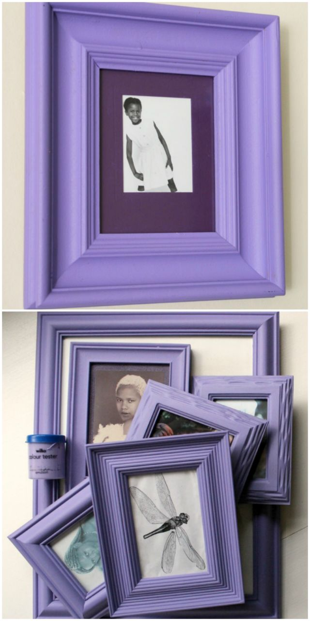 decorate frames using sample pots of paint. seal with clear acrylic sealer.