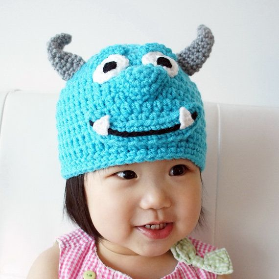 Monster Hat, Sully, Crochet Monster Hat, Crochet Baby Hat, Animal Hat, Green, photo prop, Inspired by Monsters Inc