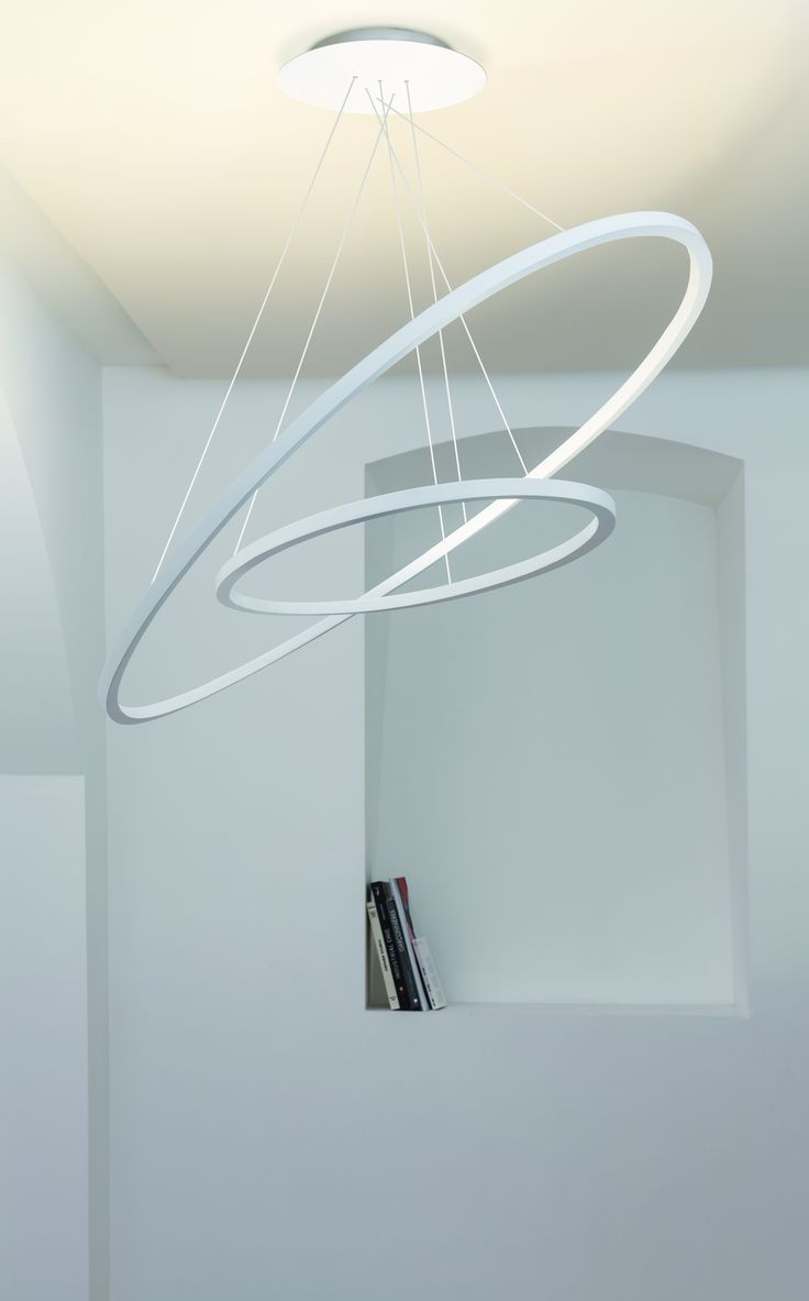 Ellisse pendant double LED pendant lamp in two sizes -regular and mini- for diffused, indirect lighting. Extruded alluminium, matt white liquid painted, with polycarbonate opal diffuser. Ceiling box of regular version may be used to simultaneously suspend also the mini version.