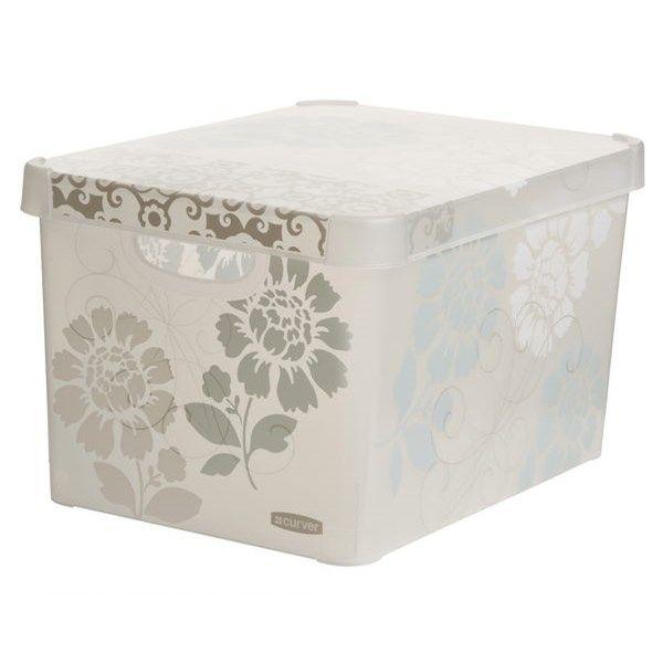 Förvaringslåda med lock Deco 27 l Transparent Blommig Plast - Småförvaring…