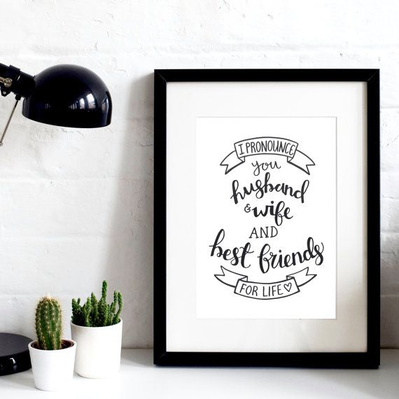 I Pronounce You Husband & Wife A4 Original Print - Wedding Print - Wedding Gift - Modern Typography - Original Gift Idea - Anniversary Gift
