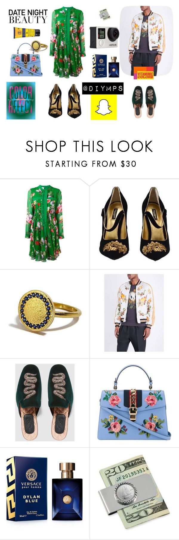 """""""Date night beaty, by @diymps"""" by diymps on Polyvore featuring Brognano, Dolce&Gabbana, Coach 1941, Gucci, Versace, American Coin Treasures and Billabong"""