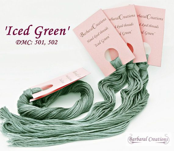 Hand dyed cotton thread  'Iced Green' by BarbaralCreations on Etsy, €2.50