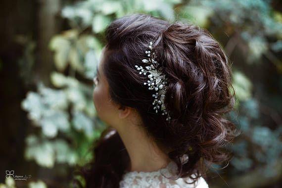 Bridal Handmade Comb Freshwater pearls White Glass