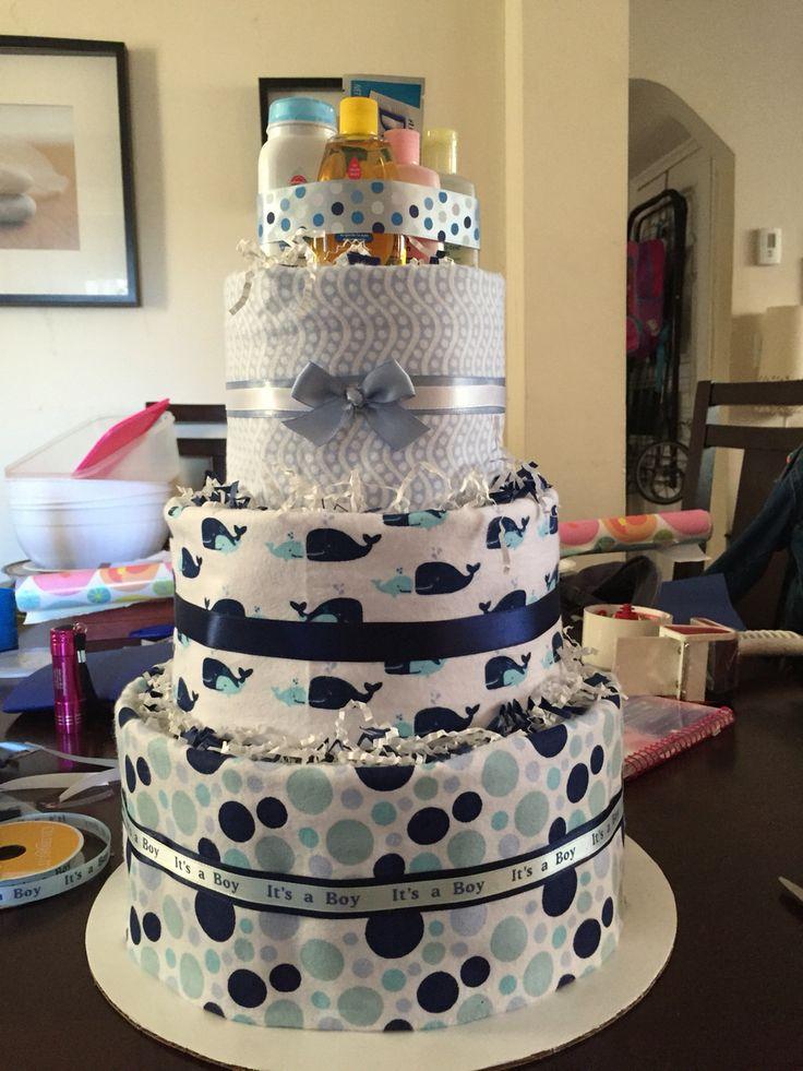Whale theme diaper cake