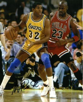 9a02eb69634b Magic Johnson signed Los Angeles Lakers 8x10 Photo (yellow jersey post up  dribble vertical vs Michael Jordan- black sig)