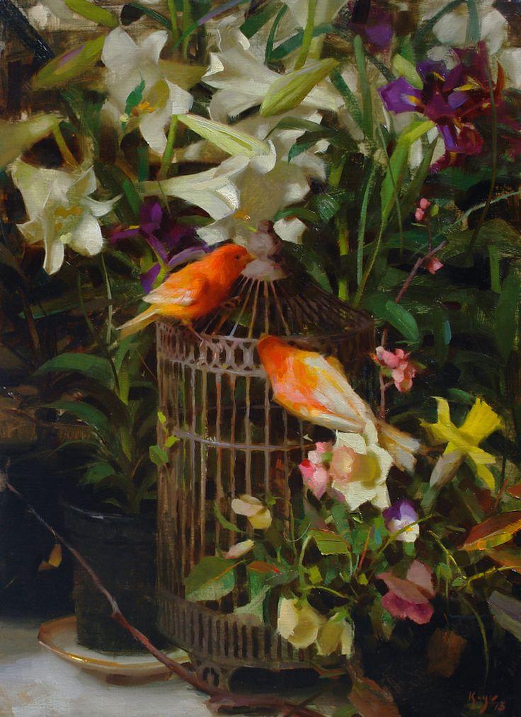 ♞ Artful Animals ♞ bird, dog, cat, fish, bunny and animal paintings - Daniel Keys | Canaries and Lilies