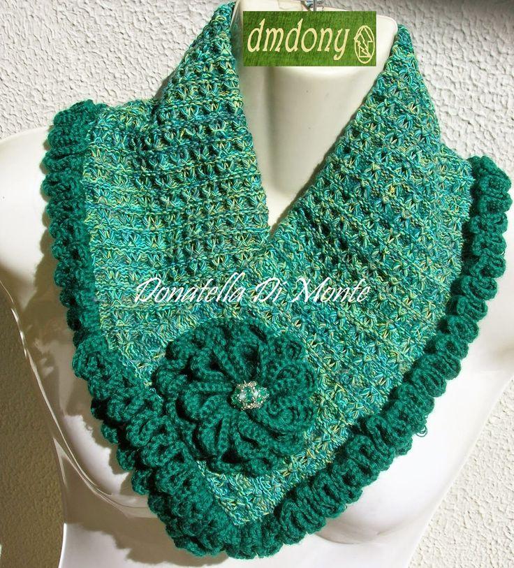 LE CREAZIONI DI DONY: scaldacollo verde ...maglia a macchina e bordato a...