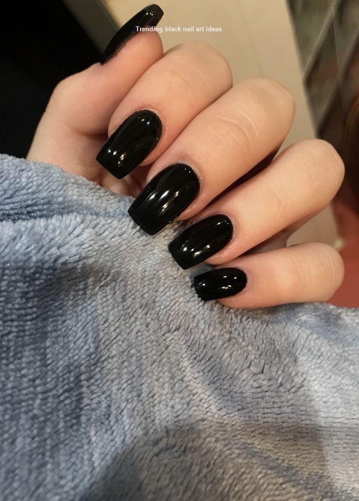 20 Simple Black Nail Art Design Ideas Naildesigns Blacknails Square Acrylic Nails Short Acrylic Nails Black Nails