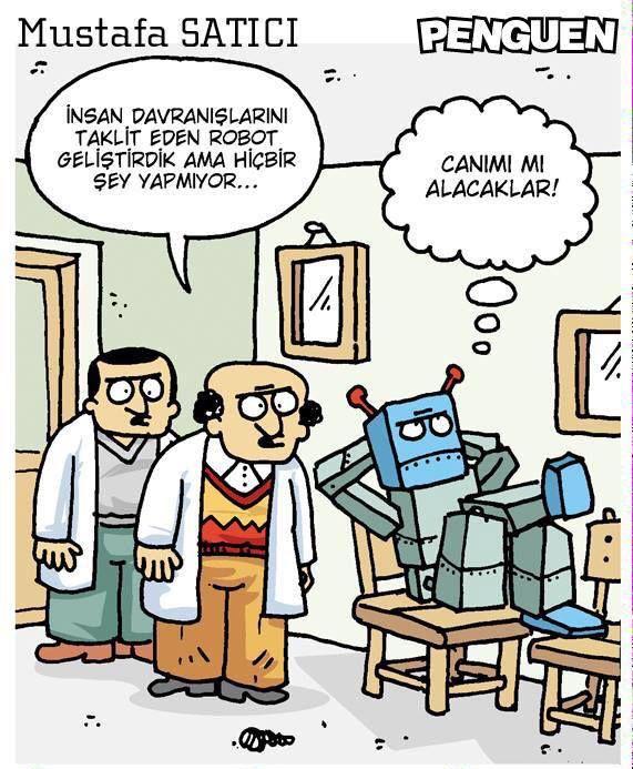 - İnsan davranışlarını taklit eden robot geliştirdik ama hiçbir şey yapmıyor... + Canımı mı alacaklar! #karikatür #mizah #matrak #komik #espri #şaka #gırgır #komiksözler