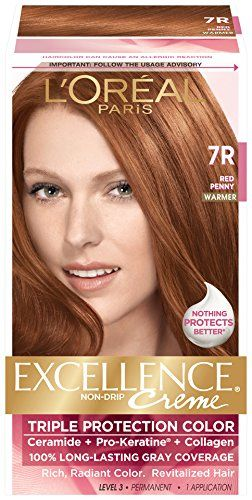 L'Oréal Paris Excellence Créme Permanent Hair Color, 7R Red Penny, 3 Count *** Learn more by visiting the image link. #hairclip
