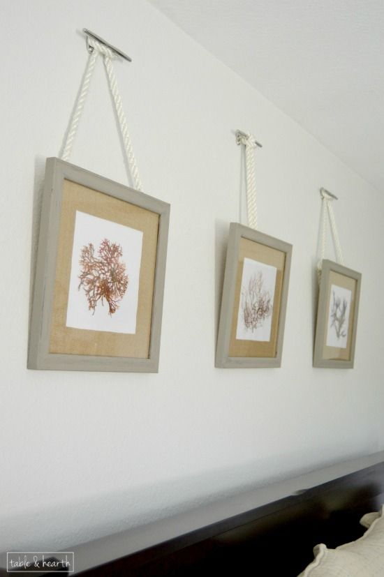 Pressed algae in chalk paint frames with burlap mats. Perfect for a beachy bedroom.