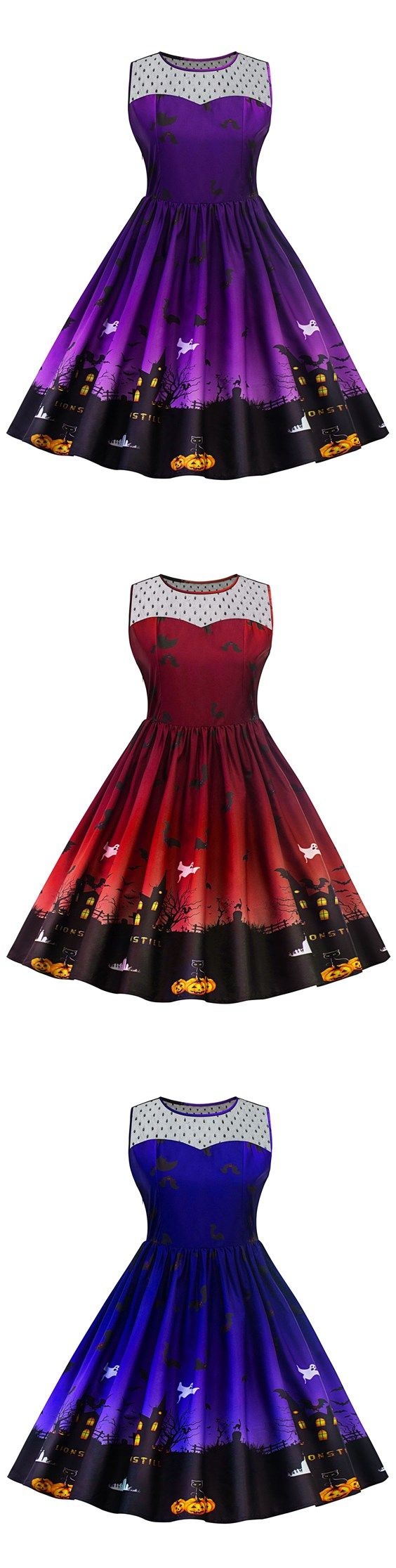 Lace Panel Halloween Plus Size Dress