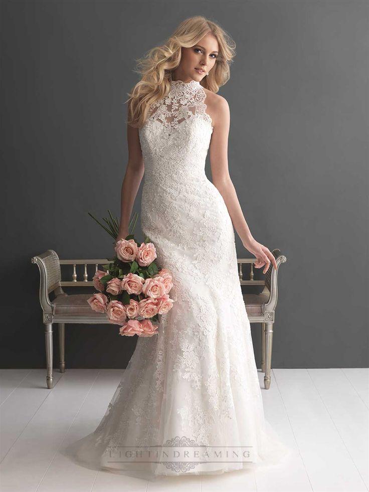 Sheer Illusion High Neckline Sheath Lace Wedding Dresses