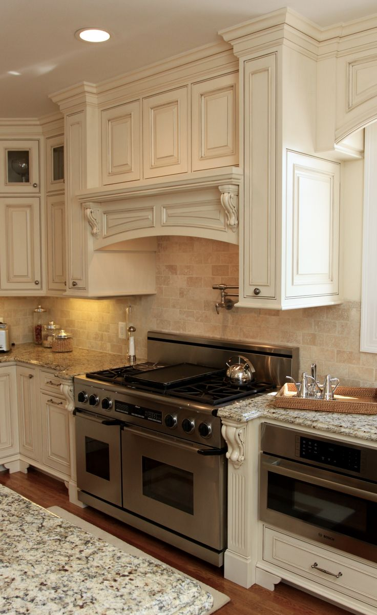 Custom Mantle Wood Hood French Country Kitchens Country