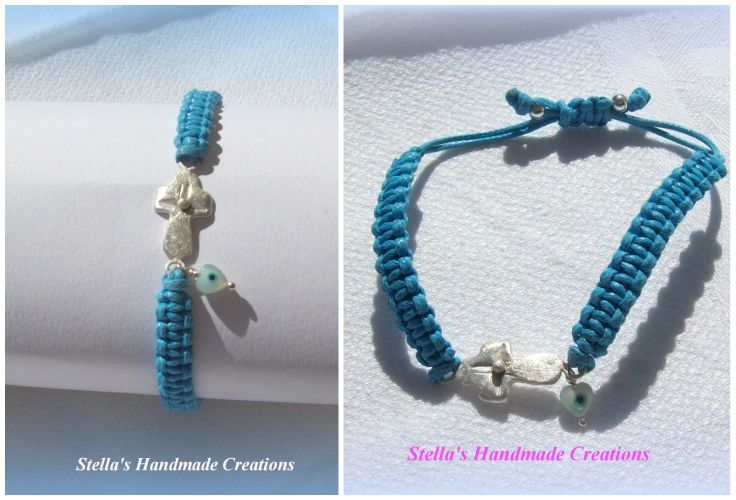 Macrame bracelet with 925 silver handmade cross, small evil eye and silver elements.