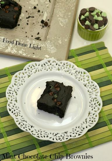 Best recipe ever! Mint Chocolate Chip Brownies - flourless Low Calorie, Low Fat, Healthy Dessert
