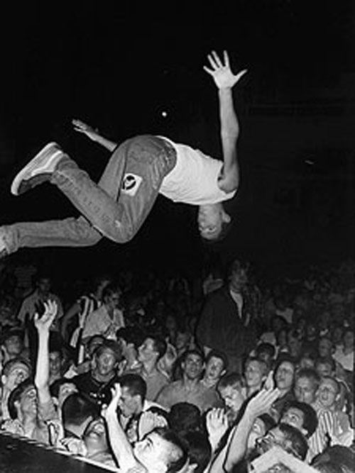 Punk rock stage dive.