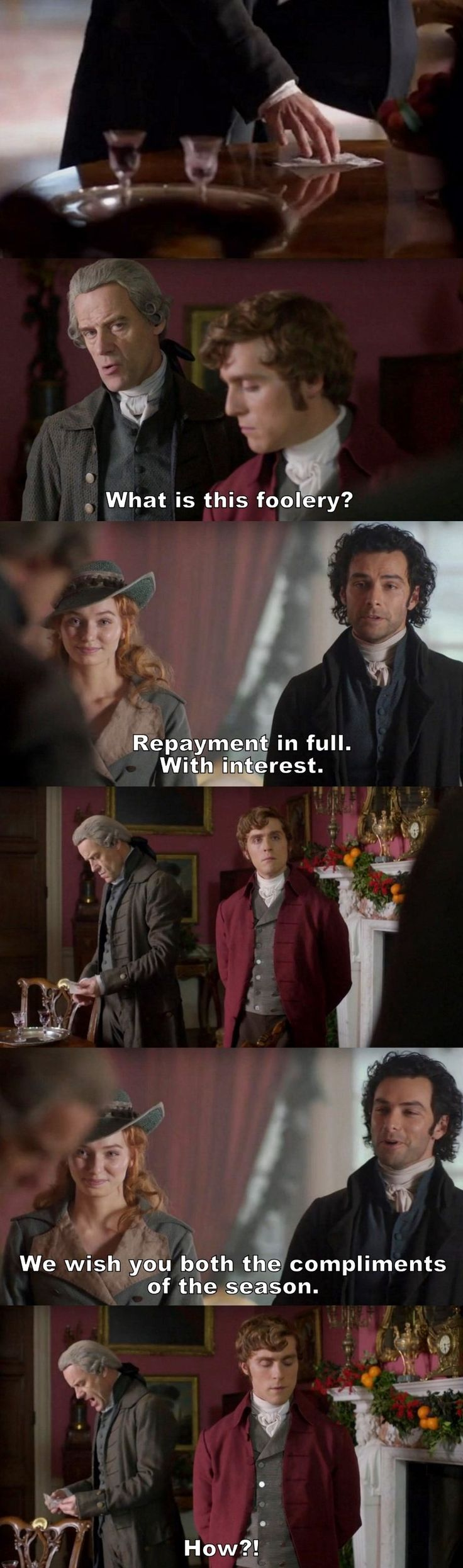 """Repayment in full. With interest"" - Ross, Demelza, George and Cary Warleggan #Poldark"