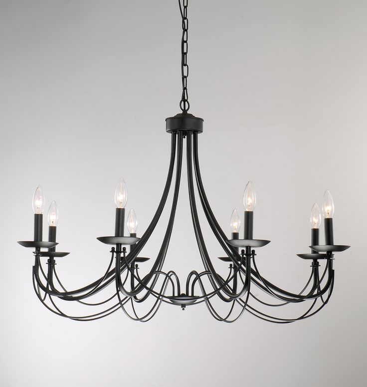 This black chandelier is a statement piece that looks stunning in any home, whether hanging in your entryway or dining room creating warm, inviting light. Use the iron eight-light chandelier with or w