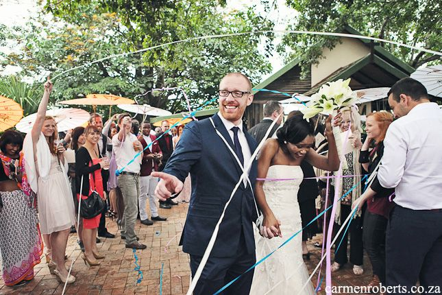 Carmen Roberts Photography, Tim and Gugu's wedding 23 - instead of confetti; streamers!