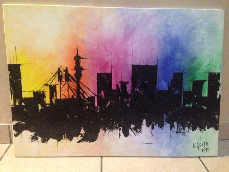 Joburg skyline acrylic on canvas