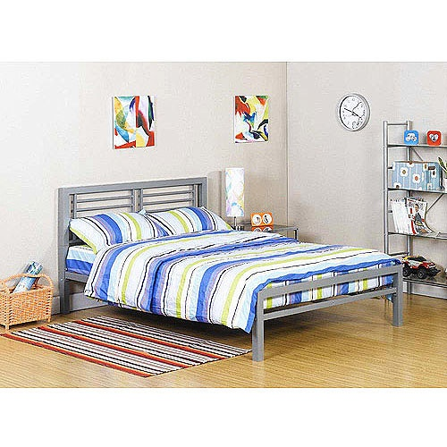 Your Zone Silver Metal Full Bed Walmart Com
