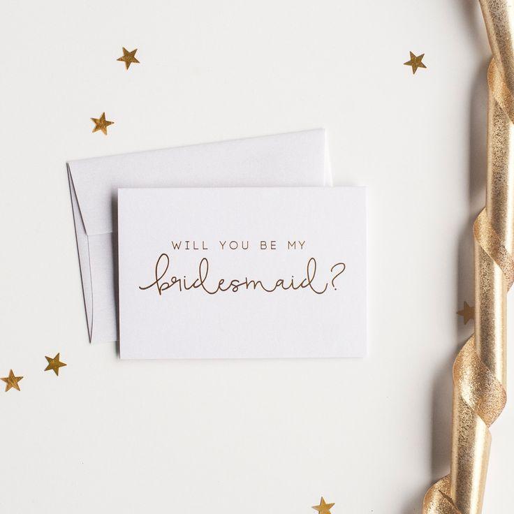 Blattgold wird Sie werden meine Brautjungfer-Karte - Braut-Karte, Folie gestempelt Notecard, Hochzeit Partei Karte, Braut, Brautjungfer-Einladung von starboardpress auf Etsy https://www.etsy.com/de/listing/239274902/blattgold-wird-sie-werden-meine