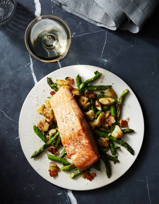 Eric Ziebold's Recipe for Salmon With Asparagus and Twice-Cooked Potatoes