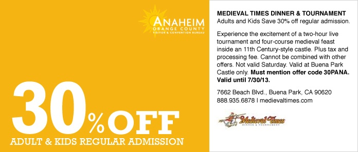 Medieval times discount coupons