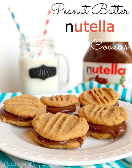 Peanut Butter nutella Cookies Recipe (Only 4 Ingredients!) Recipe here --> http://www.raininghotcoupons.com/peanut-butter-nutella-cookies-recipe