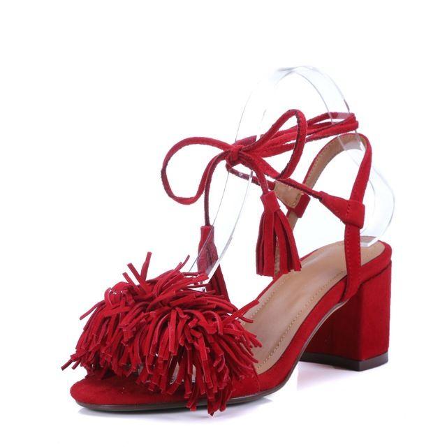 Mode Tassles talon carré chaussures en peau de mouton véritable été en cuir femmes gladiateurs croix - tied Fringe sandales