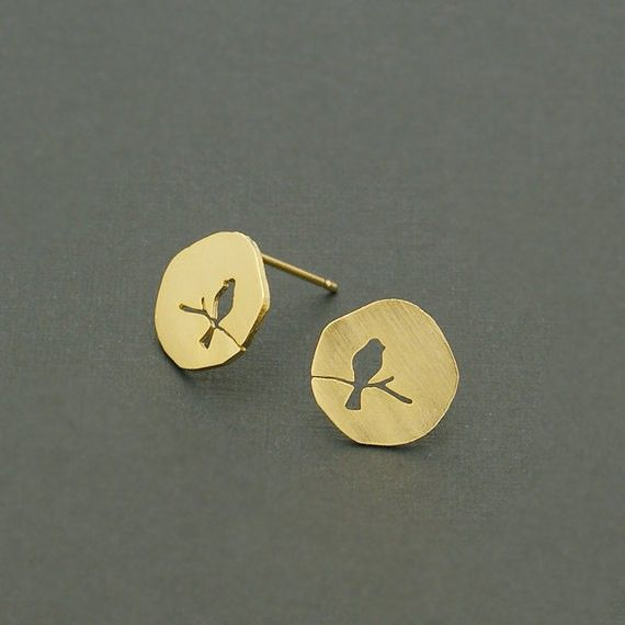 30PCS-S089 Wholesale Cute Earrings Gift Gold Silver Rose Gold Plated Hollow Animal Bird On A Branch Stud Earring for Women