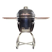 19 In. Ceramic Kamado Grill in Gun Metal with Stainless Steel Cart and Accessories - HAN191KMDCSCA-GM