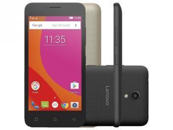 "Smartphone Lenovo Vibe B 8GB Preto Dual Chip 4G - Câm. 5MP Tela 4.5"" Proc. Quad Core Desl. Tim"