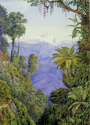 Distant View of Kinchinjunga from Darjeeling, India