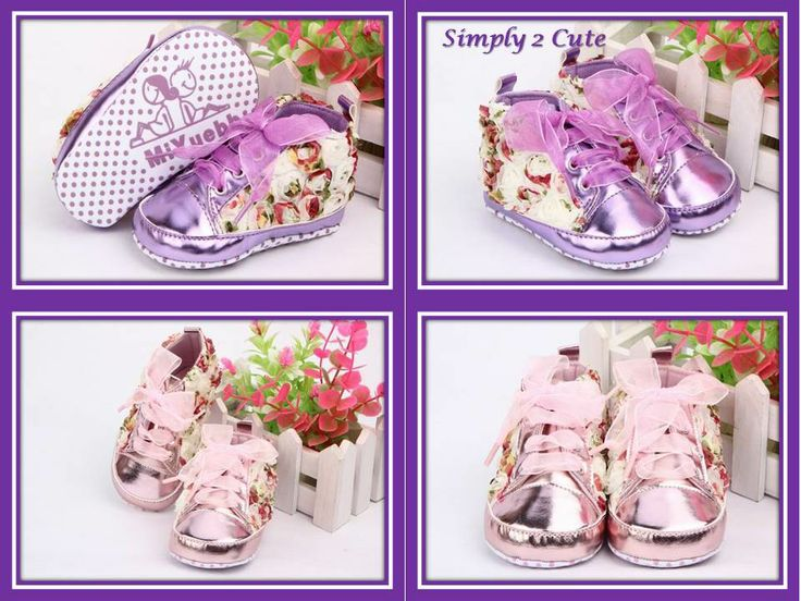 'KARA' - seriously cute floral sneakers with mini flowers and chiffon laces. Sole is anti-slip. Suitable for 3-18 month olds. Available in metalic pink or purple.