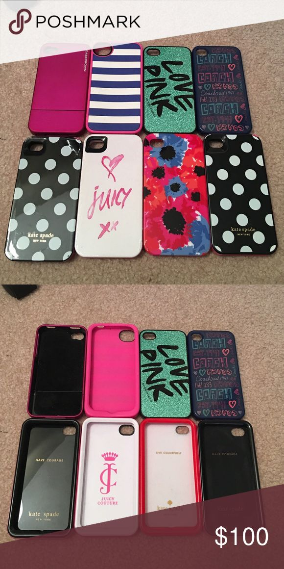 Kate Spade, Coach, PINK iPhone 4/4S cases!! Just comment which one(s) you would like to purchase and we can figure out a price!! Negotiable!! All in like new or new condition!! All are hard plastic except blue and white striped one. Kate Spade Accessories Phone Cases