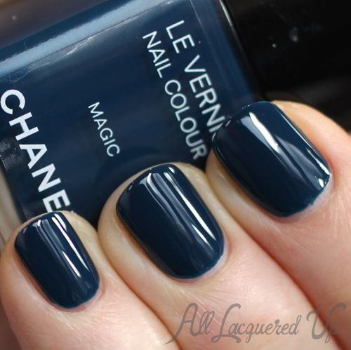 Chanel Magic Le Vernis from the Nuit Magique Collection  -  Swatches & Comparisons. Chanel Magic is a rich, denim blue creme. It has some cyan undertones so it's not quite true blue.