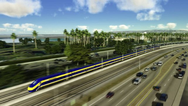This computer-generated image depicts California's high-speed rail system.
