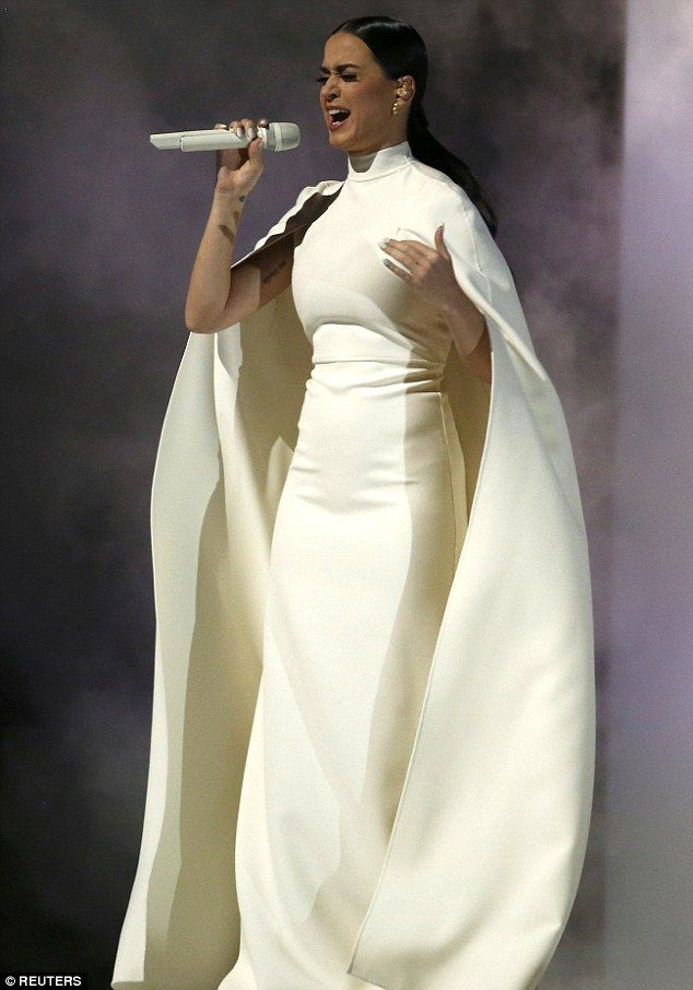 """Katy Perry performed at the Feb2015 Grammy's wearing this white caped dress (from Valentino's Sala Bianca 945 collection) -- As soon as I saw this, all I could think was """"Princess Leia"""", all it needs is the silver belt!"""