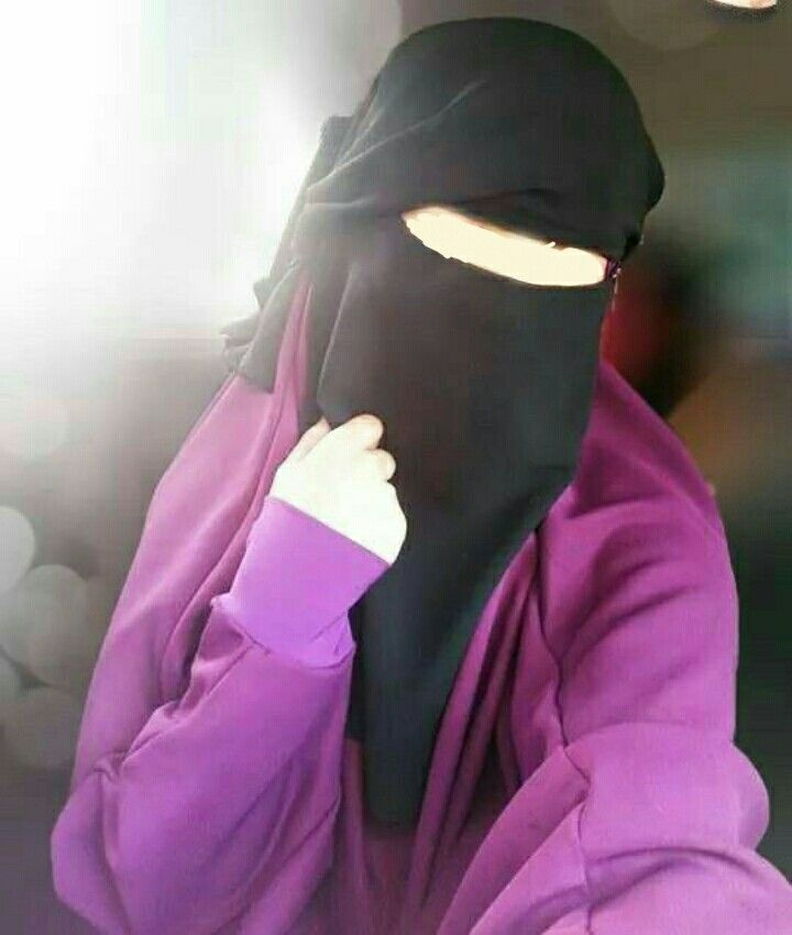 #Hijab pretty modest  Sister in purple abaya and black veil